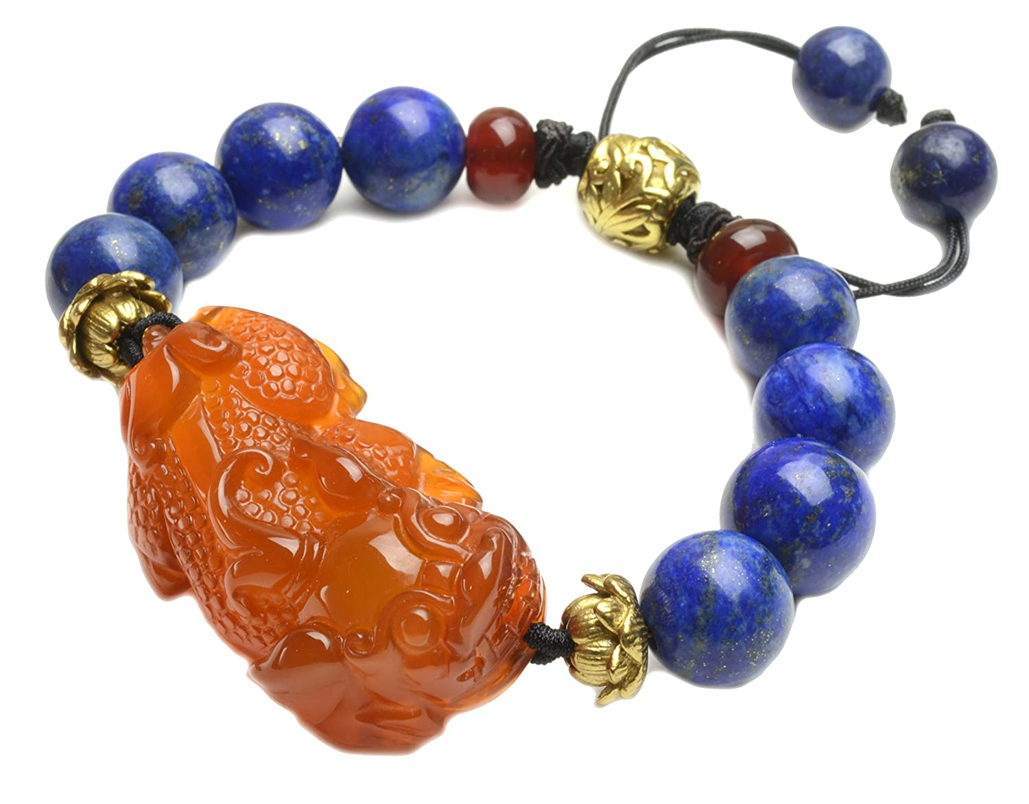 Luxury Fortune Tiger Red Chalcedony Lapis lazuli Amulet Bracelet - Fortune Feng Shui Jewelry lOrM5jL