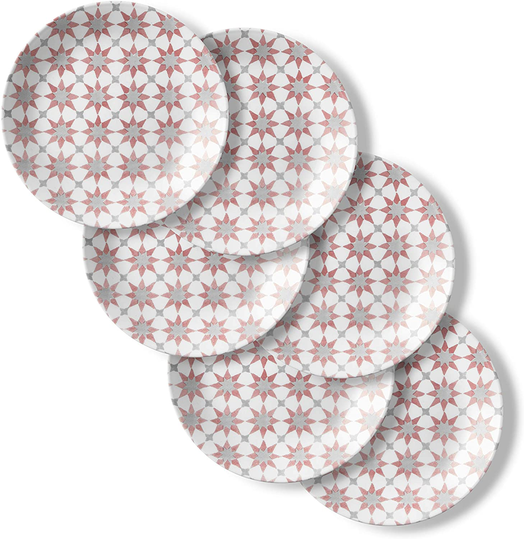 Corelle Chip Resistant Lunch Plates, 6-Piece, Amalfi Rosa