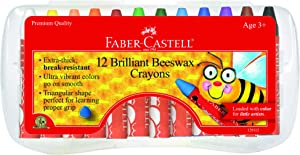 Faber-Castell Beeswax Crayons in Durable Storage Case, 12 Vibrant Colors