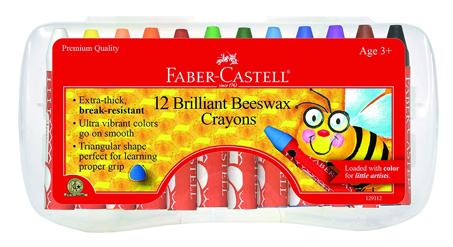Faber-Castell Beeswax Crayons in Durable Storage Case, 12 Vibrant Colors Faber Castell 129112