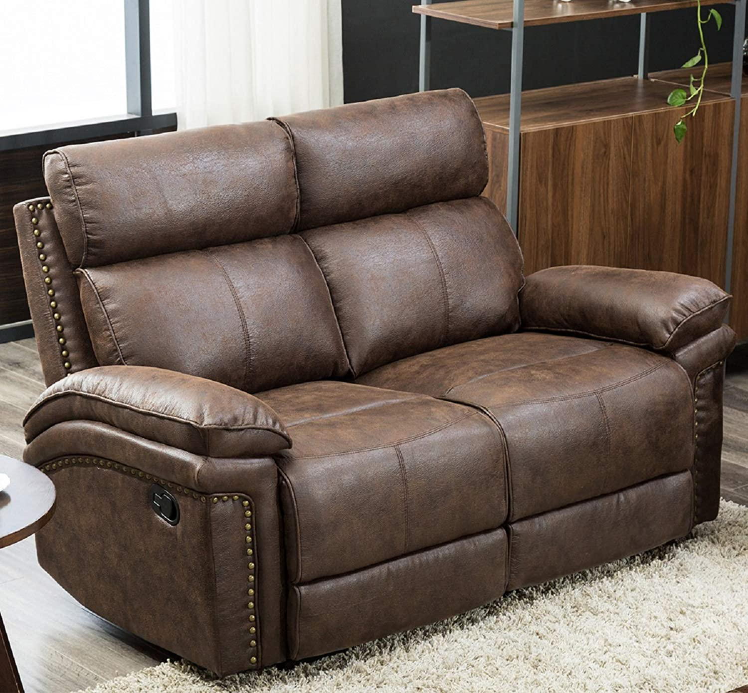 FLIEKS Loveseat Leather Modern Sofa Reclining Sofa Couch Recliner Chair  Leather Chair Sofa Sets for Living Room (Brown)
