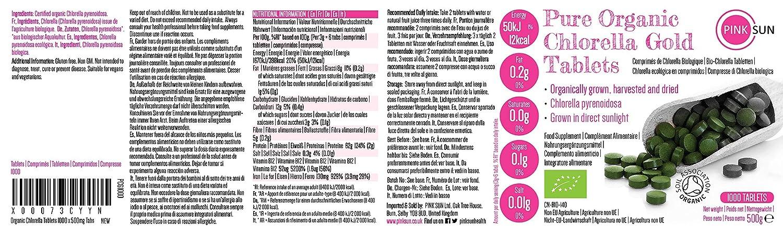PINK SUN Chlorella Ecológica Comprimidos 1000 x 500mg (o 300 Tabletas) Orgánica Pyrenoidosa Pared Celular Rota Pastillas Alga Pura Vegano No OGM 100% ...