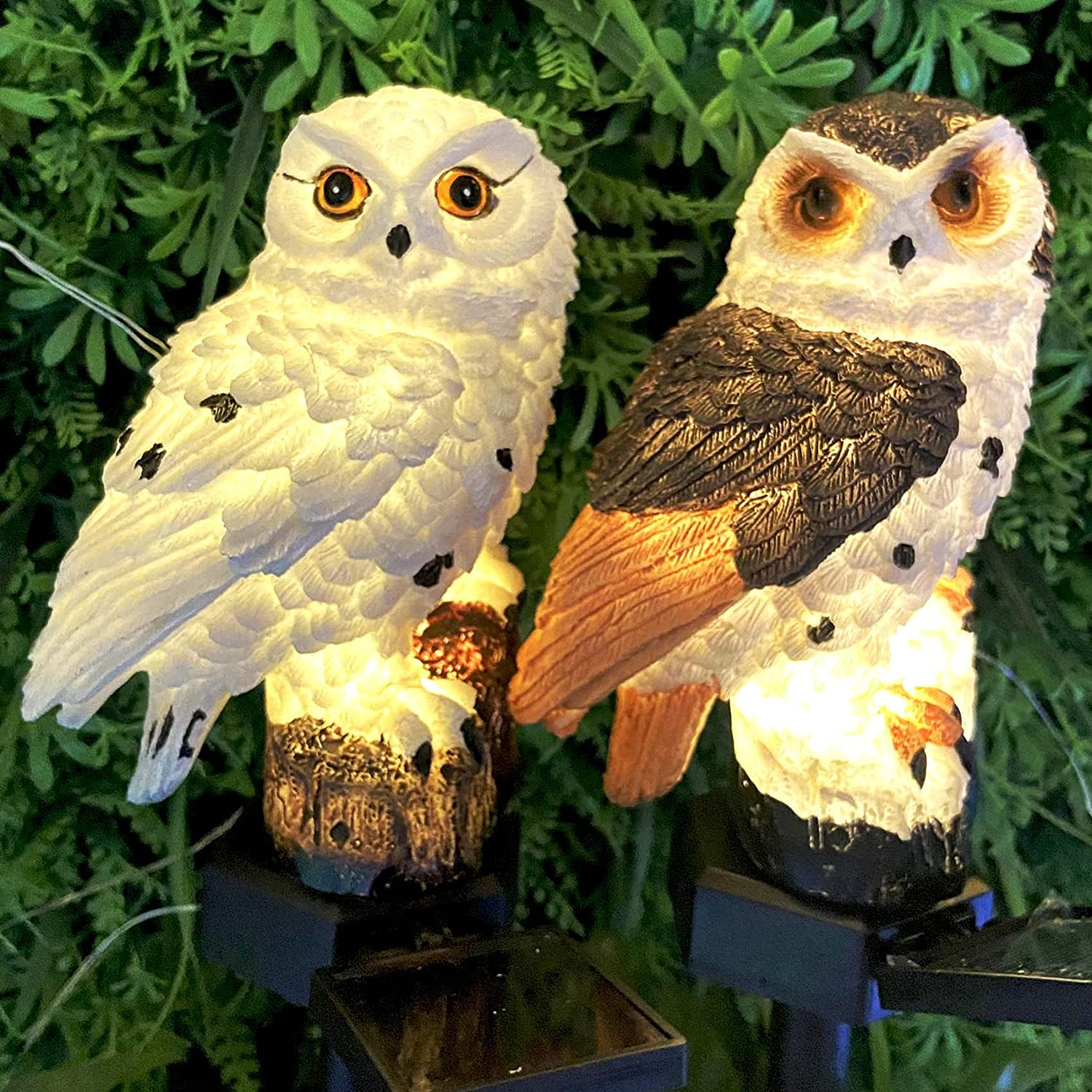 2 Pack Garden Solar Lights Outdoor Decorative Resin Owl Solar LED Lights with Stake for Garden Lawn Pathway Yard - 1 Brown 1 White