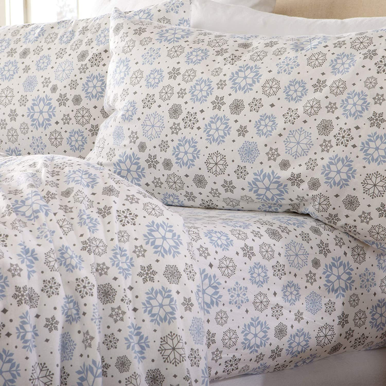Home Fashion Designs Flannel Sheets King Winter Bed Sheets Flannel Sheet Set Snowflakes Flannel Sheets 100% Turkish Cotton Flannel Sheet Set. Stratton Collection (King, Snowflakes)