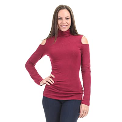 Made By Johnny MBJ Womens Long Sleeve Turtleneck Cold Shoulder Top at Women's Clothing store