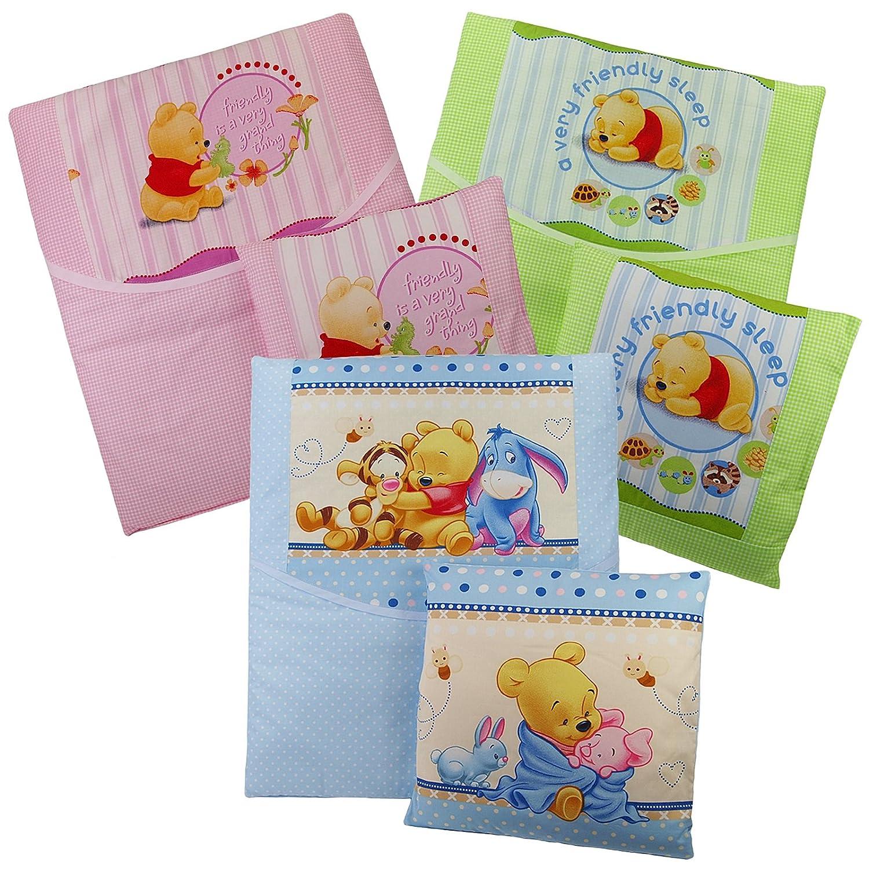 4-tlg.Baby Bettwä sche Winnie Pooh Decke Kissen fü r Kinderwagen Stubenwagen Wiege Garnitur - Rosa Noname