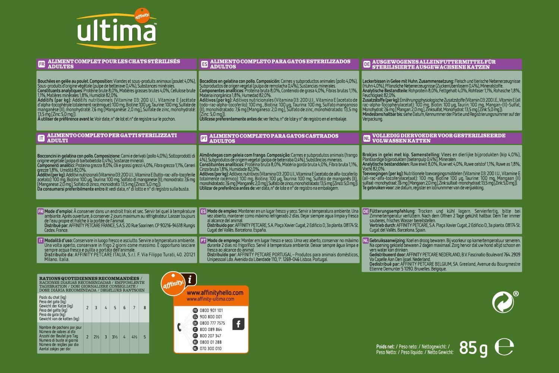 ultima Comida Húmeda para Gatos Esterilizados - 85 gr: Amazon.es ...