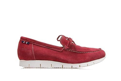 Men's Shoes Raffaello Suede Driving Shoes Red