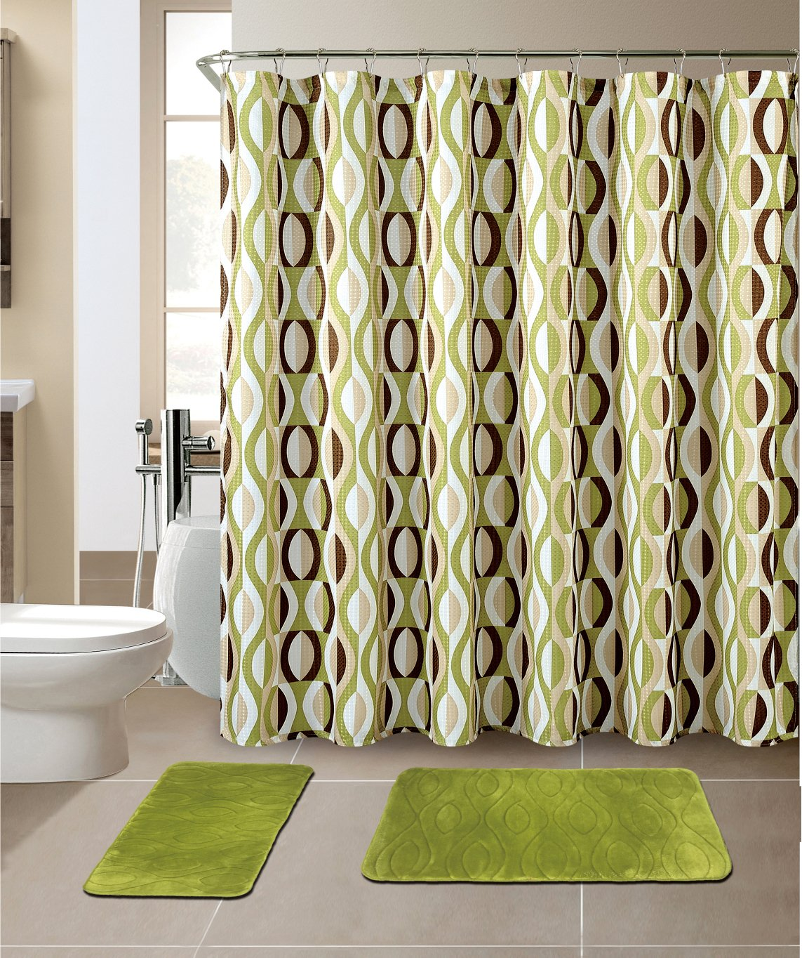 Mat Set Memory Foam with Matching Shower Curtain Helix Sage