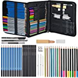 Glokers 71-Piece Arts Supplies and Drawing Kit Set - Complete Set of Art Pencils: Graphite, Colored, Metallic, Charcoal, Watercolor - Also Includes Stumps, Sharpener, Eraser & Tons More