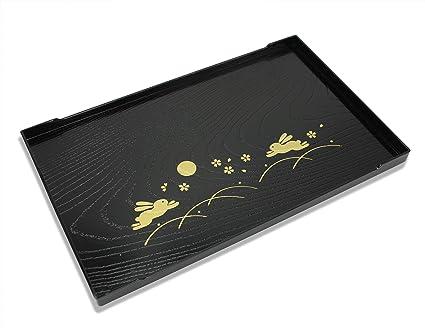 Bandeja de servir lacada japonesa, conejo de luna completa (usagi) diseño, 25