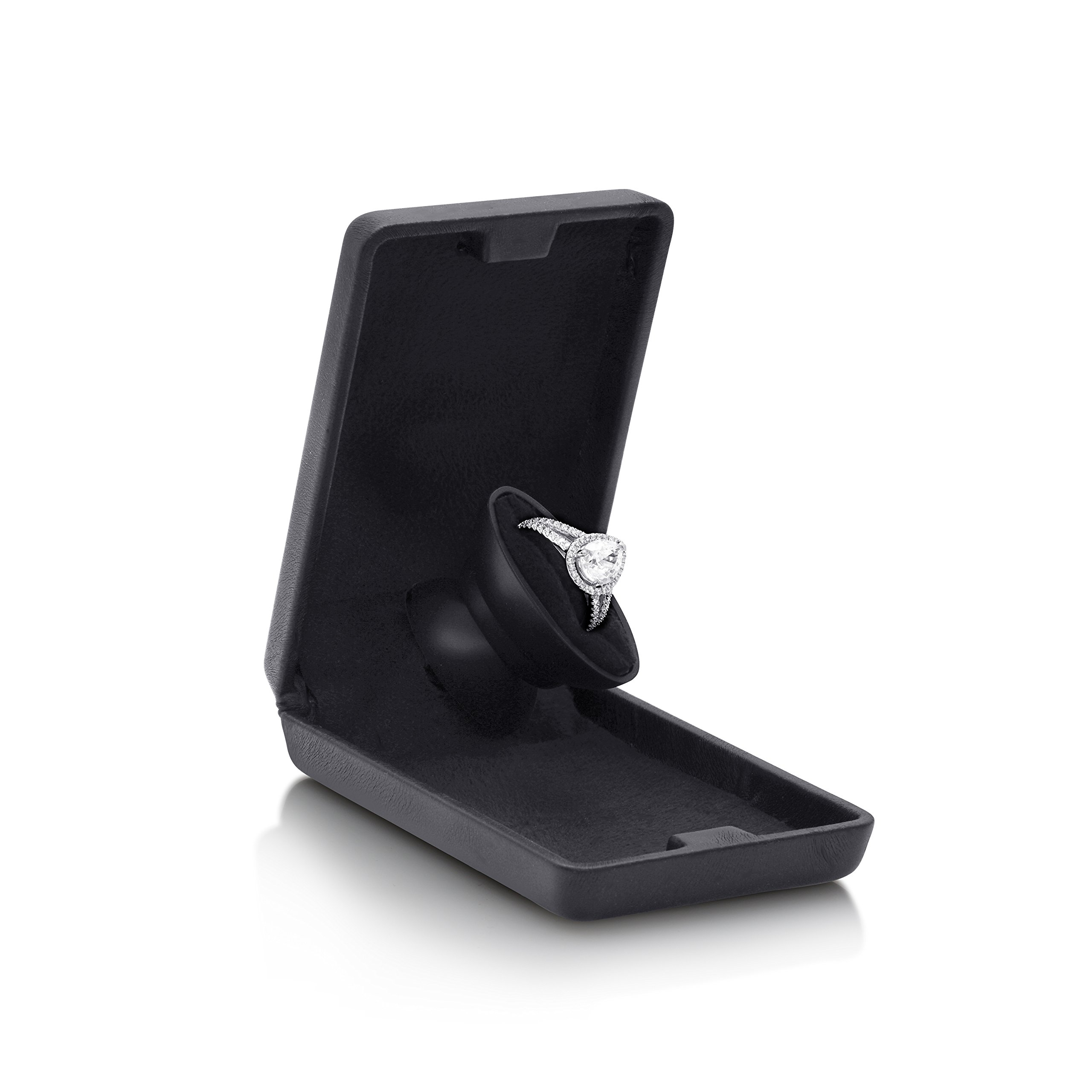 Noble Flat and Slim Pop-the-Question Jewelry Engagement Ring Box with Secret Surprise Elements (Deep Charcoal Black) by Noble (Image #3)