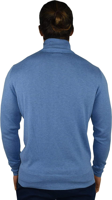 1stAmerican Maglia Mezza Zip in Cashmere e Seta da Uomo Manica Lunga Pullover Invernale Finezza 14
