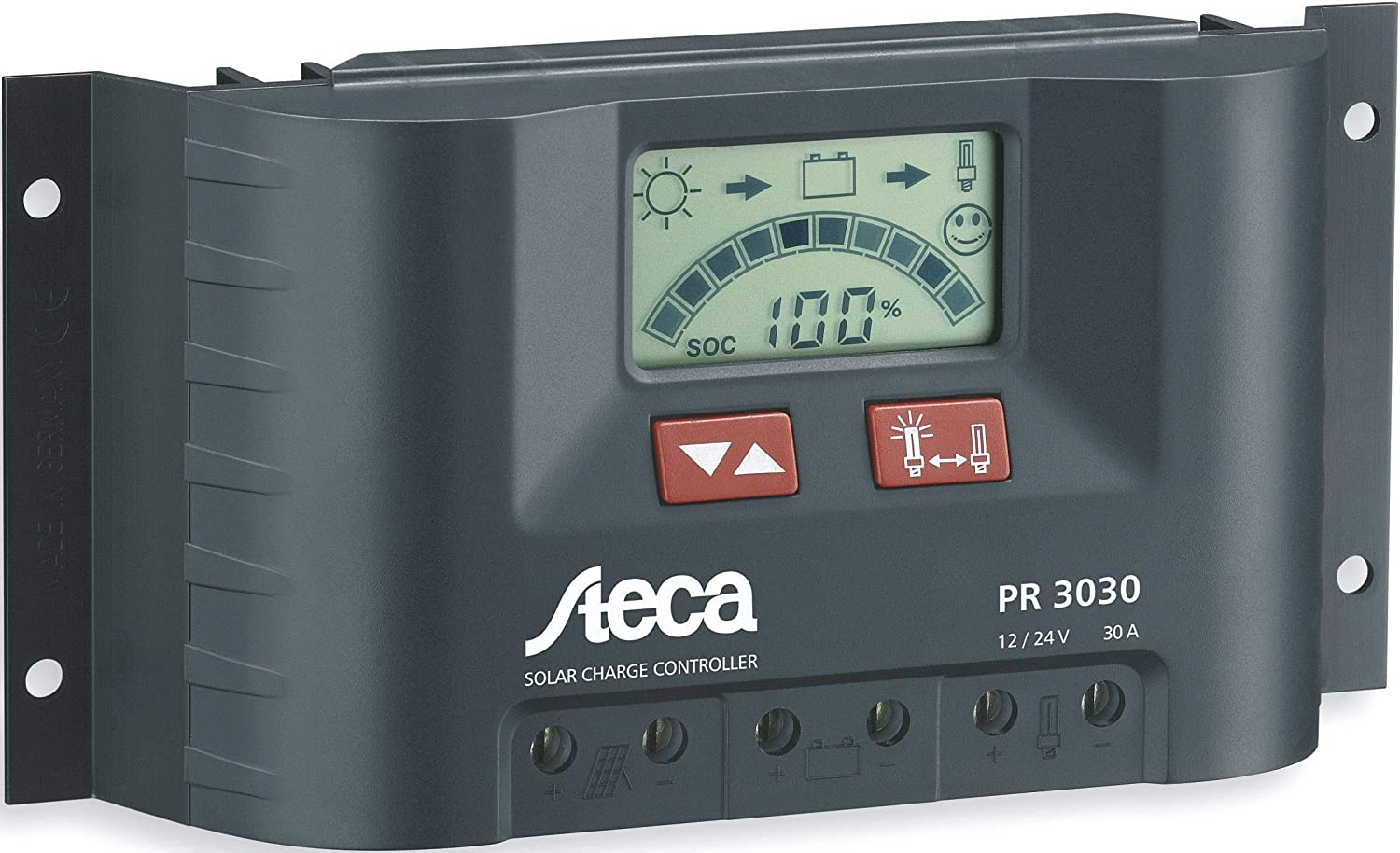Steca Solar Panel Charge Controller/Regulator with LCD Display and Direct Output for 12  V Loads (Pack of 1), PR3030