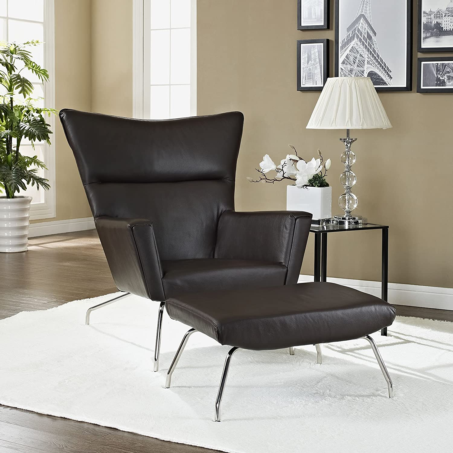 Admirable Amazon Com Modway Class Lounge Chair And Dark Brown Leather Ncnpc Chair Design For Home Ncnpcorg
