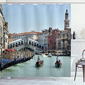 "Ambesonne Italy Shower Curtain, Famous Landscape of Venice Gondolas and Architecture Europe Tourism Canal Photo, Cloth Fabric Bathroom Decor Set with Hooks, 70"" Long, Blue Beige"