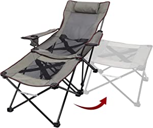 XGEAR 2 in 1 Camping Chair with Footrest Recliner Folding Chaise Lounge Chair (Footrest Can Transform to Side Table) Very Stable, for Fishing, Beach, Picnics