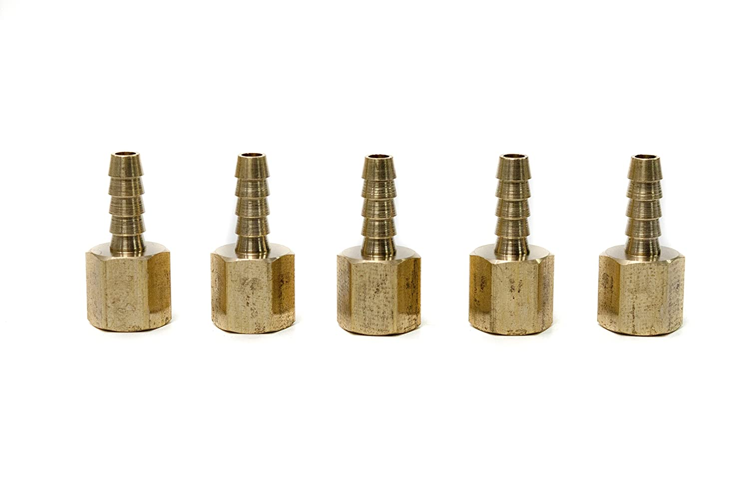 Pack of 5 LTWFITTING Brass Fitting Coupler 1//4 Hose Barb x 1//4 Female NPT Fuel Water Boat