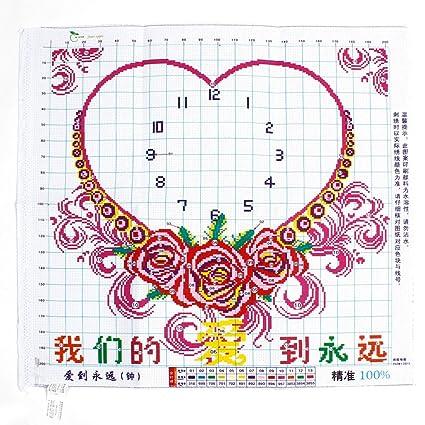 Rosa con forma de corazón reloj impreso estampado de punto de cruz Kit de punto de