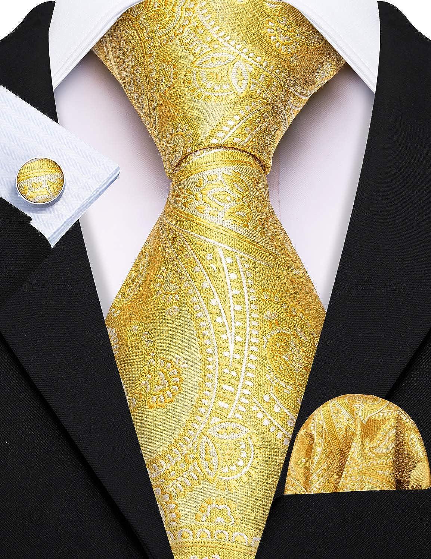 Barry.Wang Cravates pour homme uni couleurs unies mouchoir et boutons de manchette Cravate Ensemble formel mariage professionnel