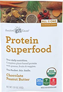product image for Amazing Grass Organic Plant Based Vegan Protein Superfood Powder, Flavor: Chocolate Peanut Butter, 1.51 oz Packet, Meal Replacement Shake