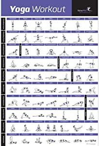 NewMe Fitness Yoga Pose Exercise Poster Laminated - Premium Instructional Beginner's Chart for Sequences & Flow - 70 Essential Poses - Sanskrit & English Names - Easy, View It & Do It!