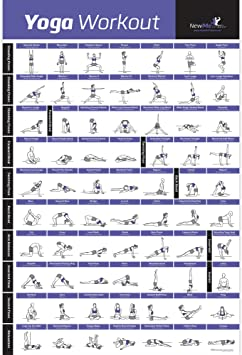 NewMe Fitness Yoga Pose Exercise Poster Laminated - Premium Instructional Beginners Chart for Sequences & Flow - 70 Essential Poses - Sanskrit & ...