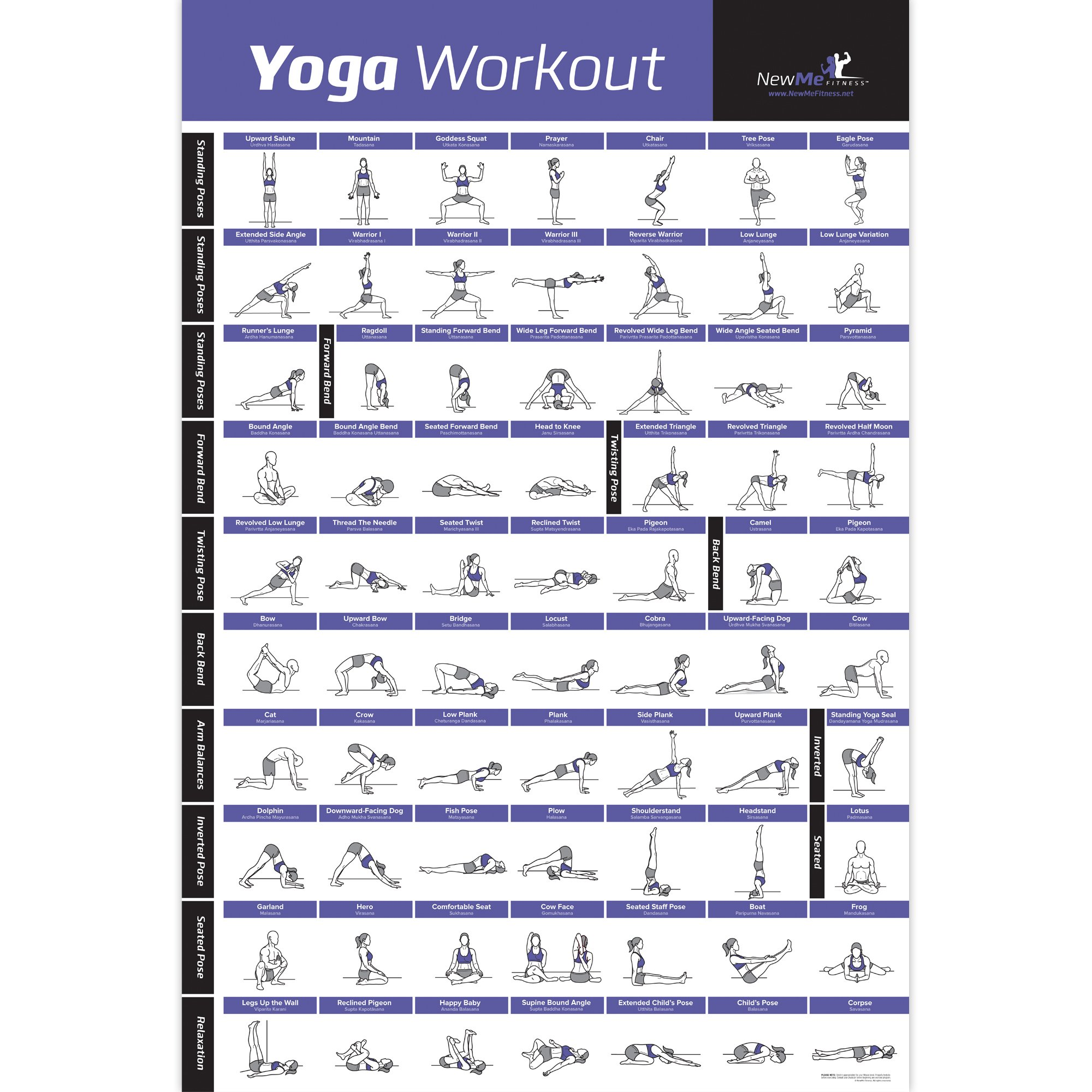 NewMe Fitness Yoga Pose Exercise Poster Laminated - Premium Instructional Beginner's Chart for Sequences & Flow - 70 Essential Poses - Sanskrit & English Names - Easy, View It & Do It! - 20''x30'' by NewMe Fitness