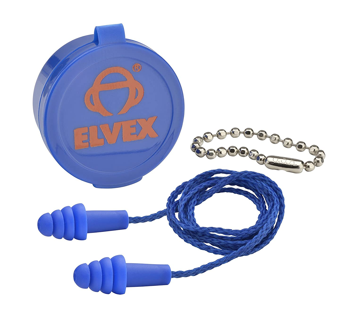 Elvex EP-412 - Quattro Corded Ear Plug w/case & Chain