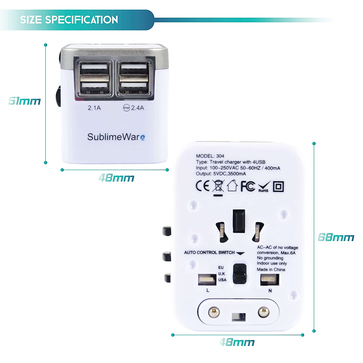 - International Travel SandBlack Silver w//USB Ports Work for 150+ Countries 220 Volt Adapter Travel Adapter Type C A Type G I f UK Japan China EU Europe European by SublimeWare Power Plug Adapter