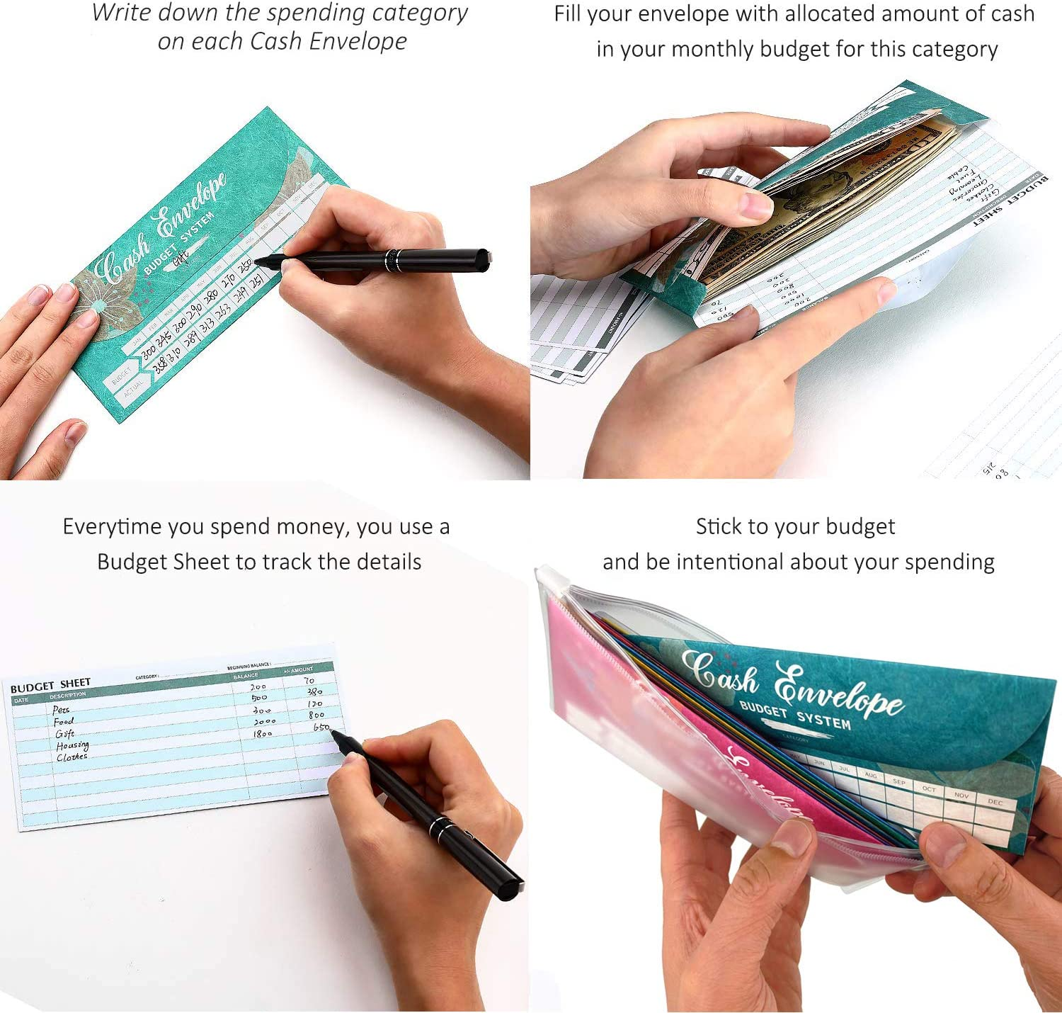 Tear /& Waterproof Money Envelopes for Budgeting and Money Saving Includes Carry Pouch /& 12 Expense Tracking Budget Sheets Cash Envelopes Budget System with 12 Pack of Assorted Colors