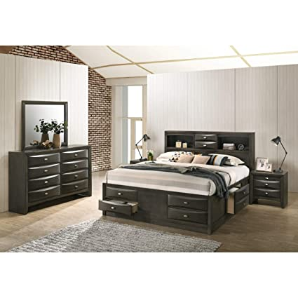 Amazoncom Overstock Leslie Espresso Finish Bed Set Bookcase