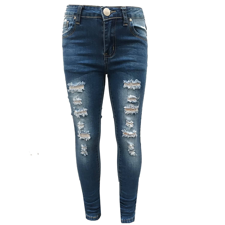 Minx Girls Stretchy Jeans Kids Jeggings Girls Ripped Skinny Pants Kids Denim Jeans 5 6 7 8 9 10 11 12 Years