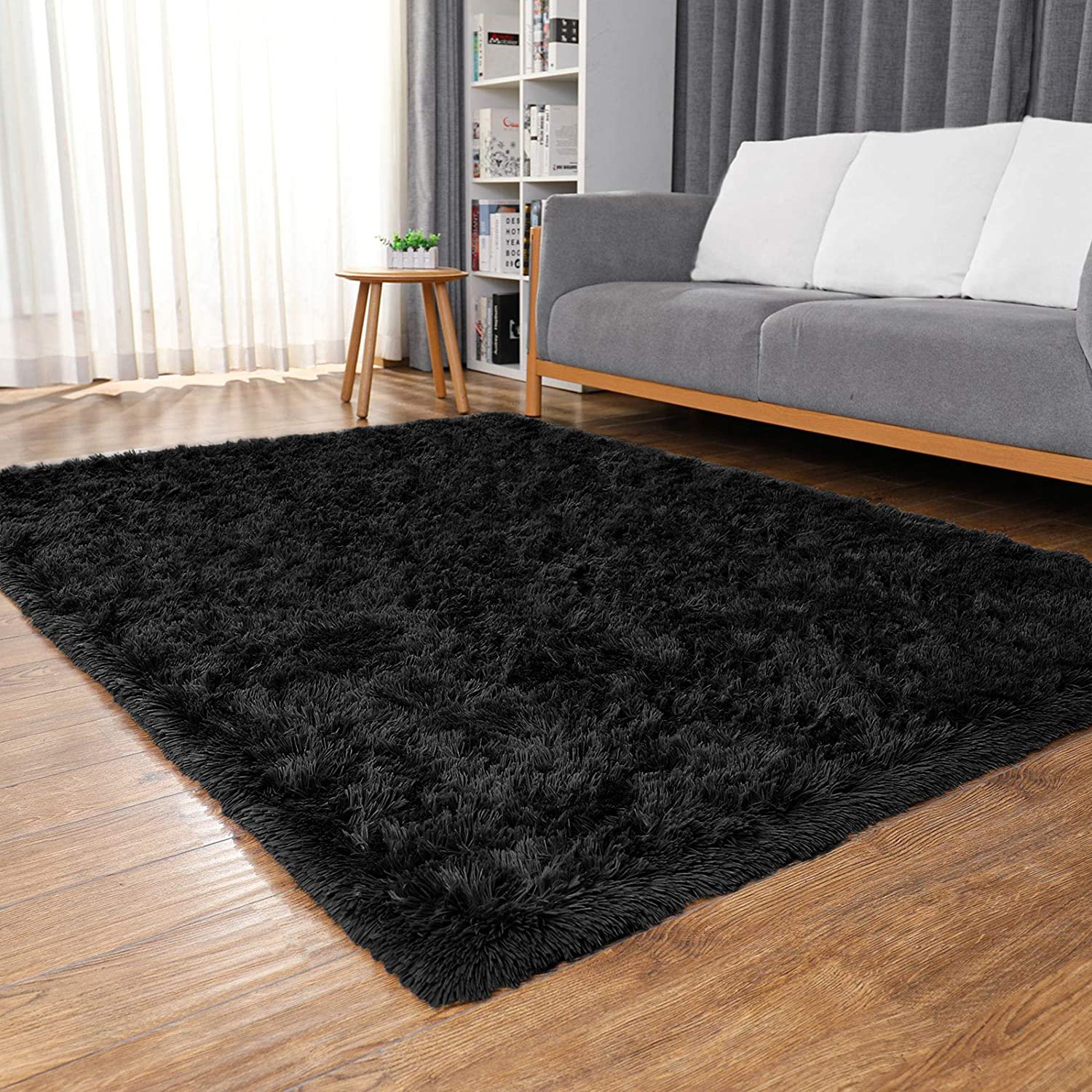 Ophanie Machine Washable Fluffy Area Rugs for Living Room, Ultra-Luxurious Soft and Thick Faux Fur Shag Rug Non-Slip Carpet for Bedroom, Kids Baby Room, Nursery Modern Decor Rug, 4x5.3 Feet Black