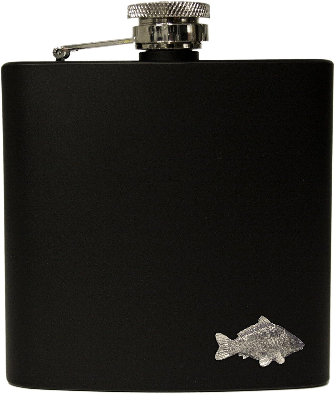 6oz black carp hip flask