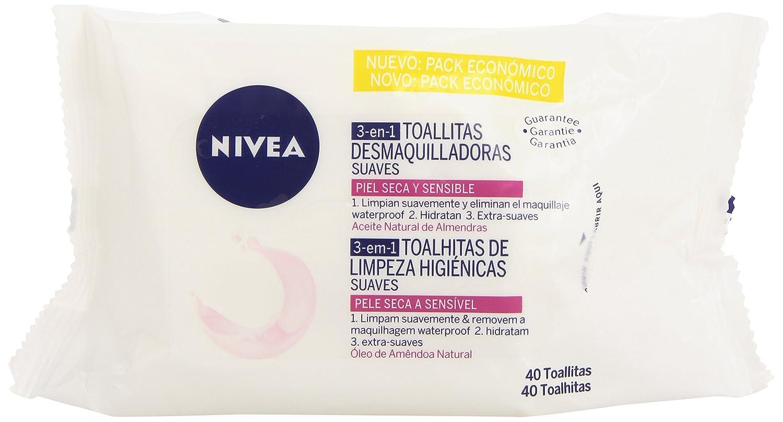 Nivea Toallitas Desmaquilladoras Suaves, Piel Seca y Sensible - 40 Unidades: Amazon.es: Amazon Pantry