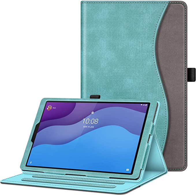 Fintie Case For Lenovo Tab M10 Hd 2nd Gen 2020 Tb X306 10 1 Multi Angle Viewing Protective Case With Auto Sleep Wake Document Slots For Lenovo M10 Hd Plus Smart Tab M10 Hd Plus Turquoise Elektronik