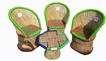 Ecowoodies Clevelandii Cane Bamboo Furniture for Home Indoor/Outdoor /Garden/Lawn Table Chair Furniture Set (3+1)