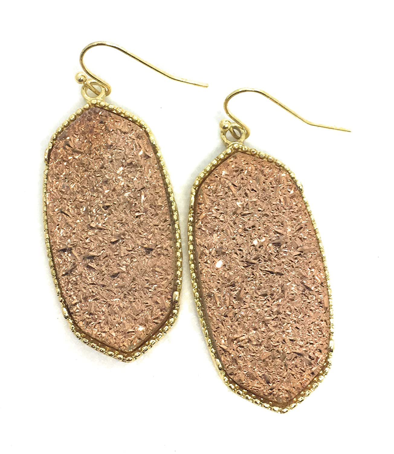 Inspired Fashion Jewelry Big Oval Drusy Earrings in Rose Gold in Gold Metal Tone