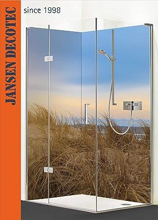 Mampara de ducha esquinera, 2 segmentos de 90 x 200 cm, diseño de playa con texto