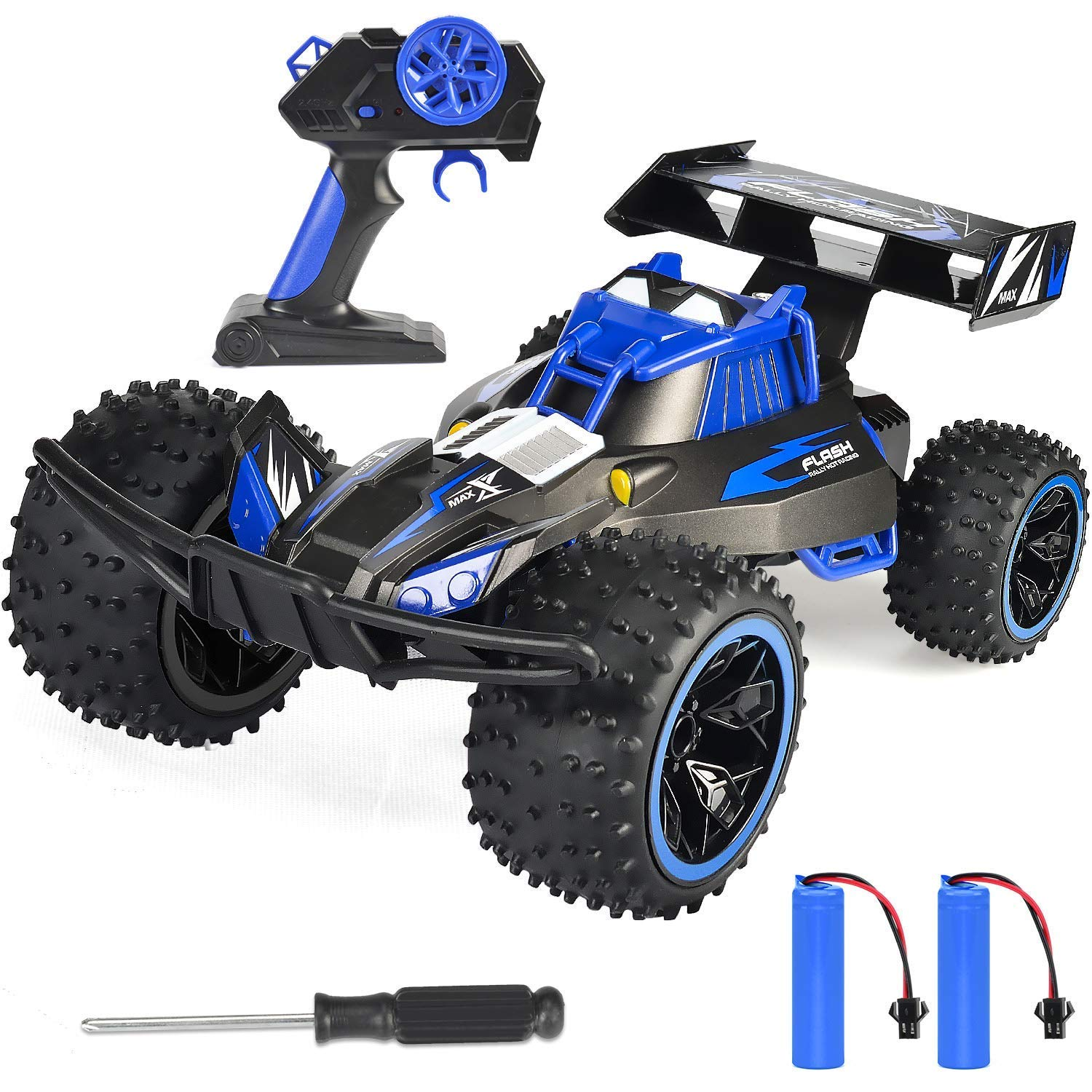 RC Car, NQD 2019 Updated 1/16 Scale High Speed Remote Control Car, 2.4Ghz Off Road RC Trucks with Two Rechargeable Batteries, Electric Toy Car for Toy Gifts for 2, 3, 4, 5, 6, 7, 8 Year Old Boy 81AjKMc-z0L