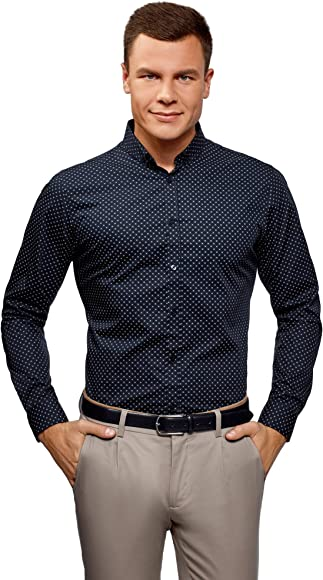 oodji Ultra Hombre Camisa de Algodón con Decoración Gráfica Pequeña, Azul, 37: Amazon.es: Ropa y accesorios