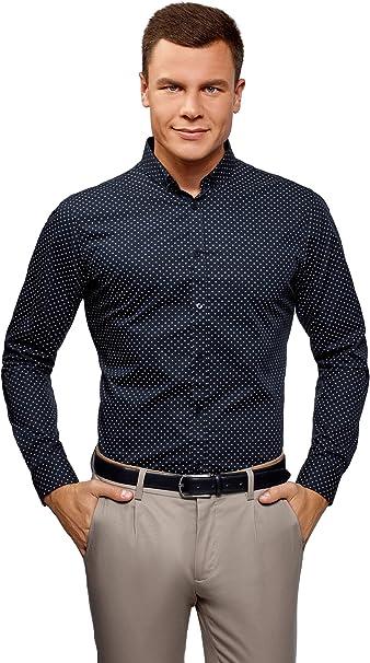 oodji Ultra Uomo Camicia in Cotone a Stampa Fitta