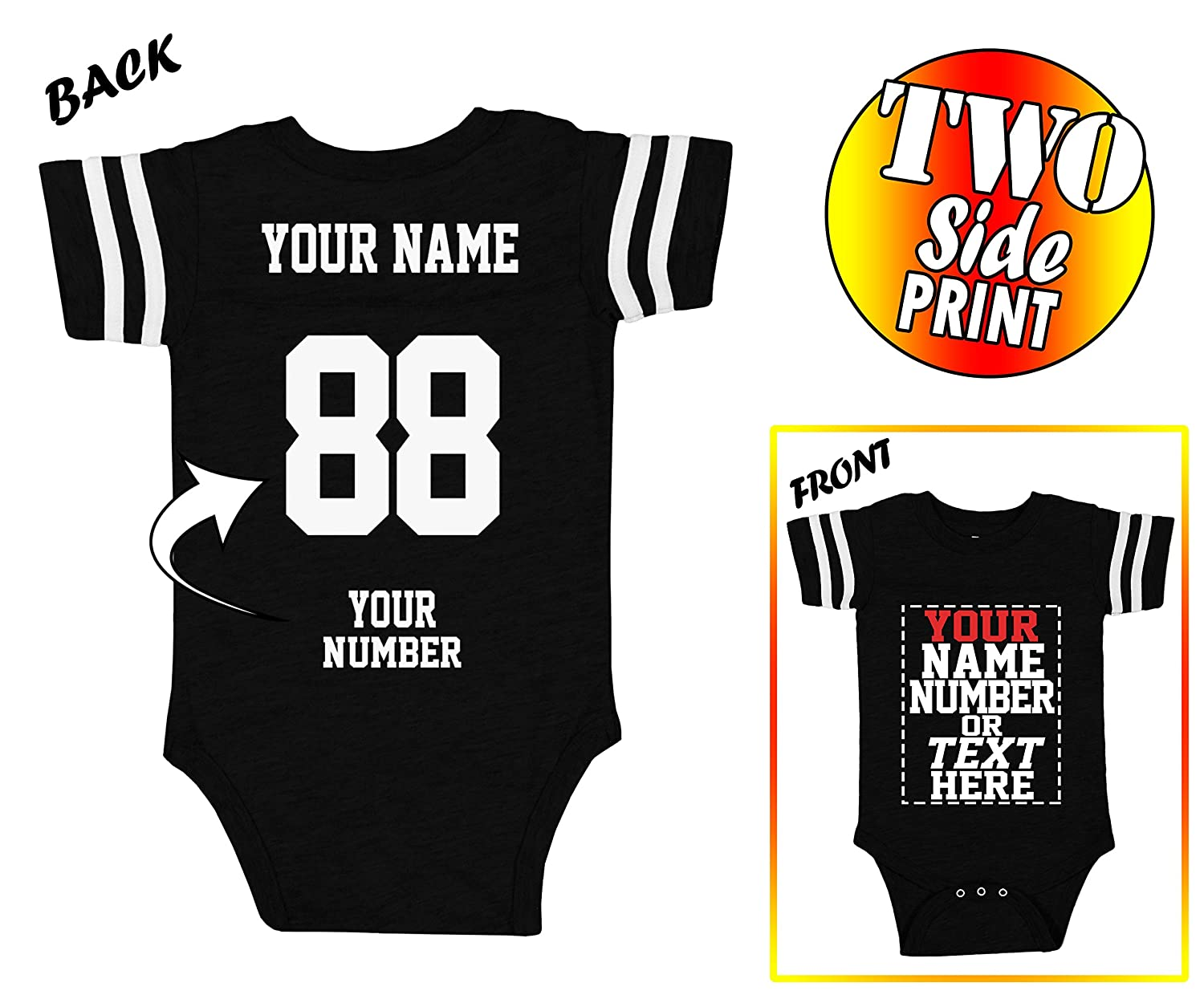ee2f4fd4472 DESIGN YOUR OWN Jersey onesie by adding your baby\'s Name and Number |  Choose your size and color then click Customize Now button for typing your  team, ...