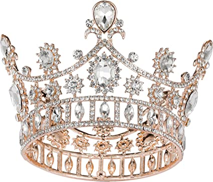 SWEETV Rose Gold Crown Cake Topper Baroque Queen Crown for Women Costume Party