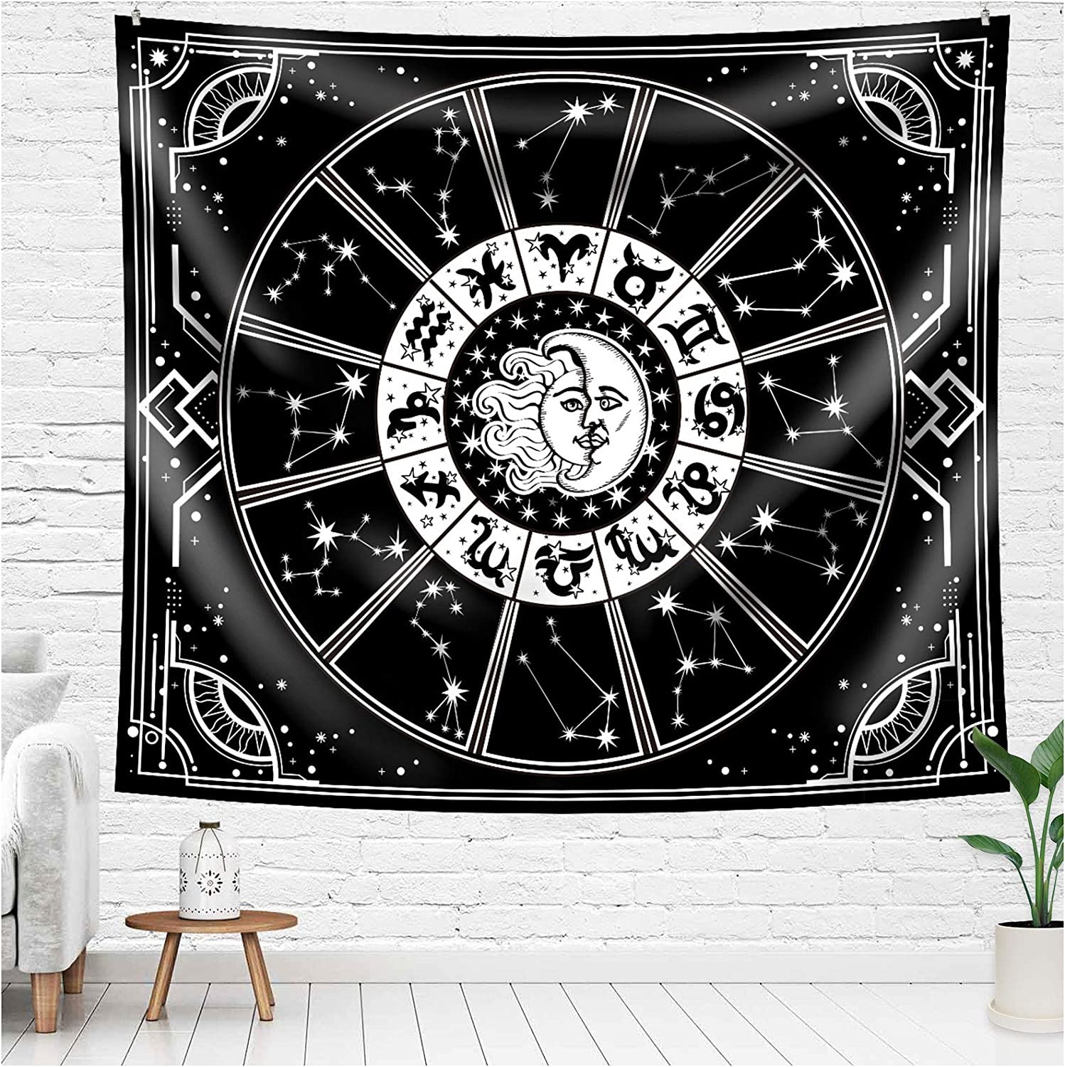 Constellation Tapestry Horoscope Tarot Tapestry Zodiac Wall Hanging Blanket Room Decor Celestial Sun Moon Tapestry Wall Decor Psychedelic Mystery Astrology Tapestry Wall Decor For Bedroom 59 X 51 Inches
