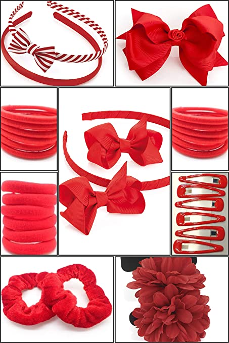 """Pair Small 2"""" Girls Red Hair Bow Clips Wedding Flower Girls School Red Hair Bow"""