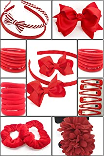 Girls hair accessories set of 2 Red Gingham flower clips School hair clips