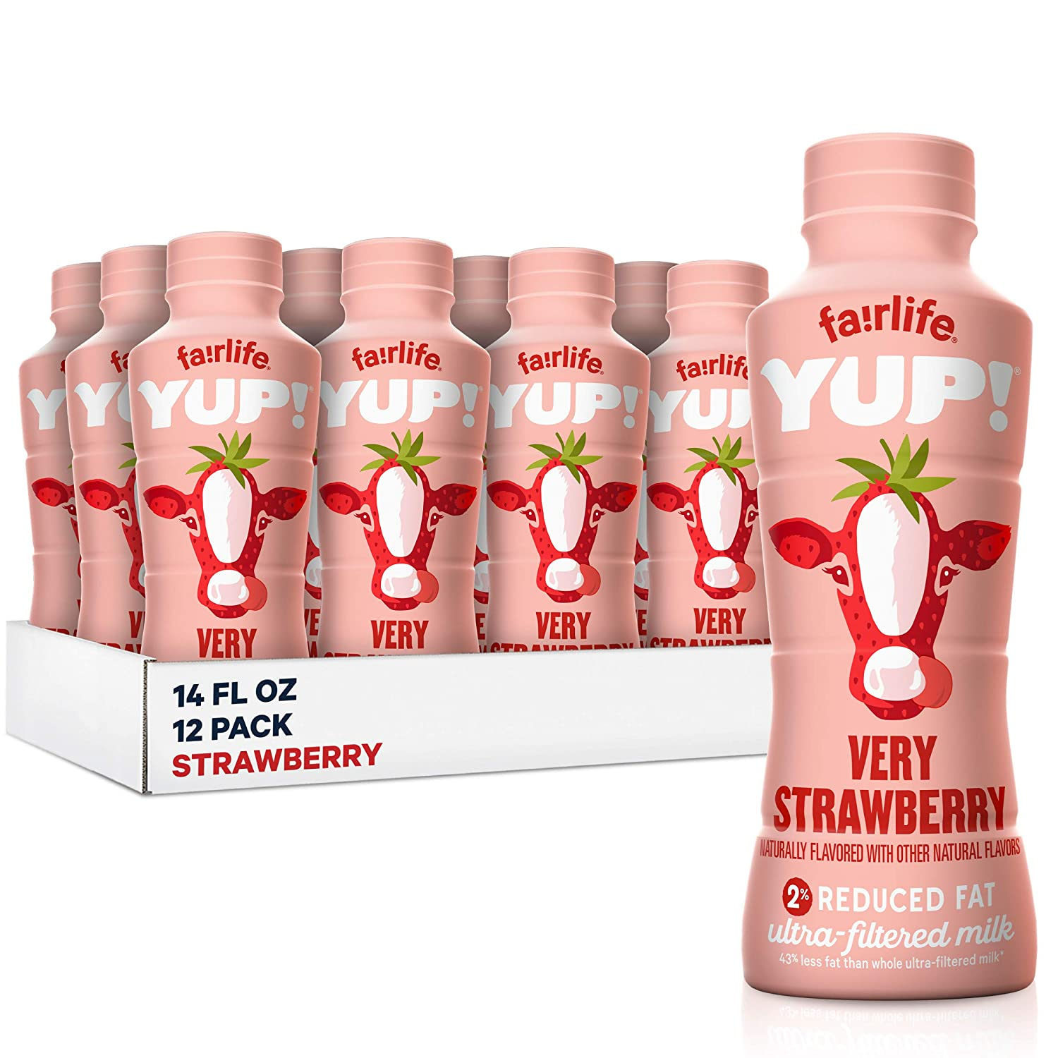 fairlife YUP! Low Fat, Ultra-Filtered Milk, Very Strawberry Flavor, All Natural Flavors (Packaging May Vary), 14 fl oz, 12 count