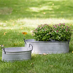 HORTICAN Garden Decor Flower Pot, Versatile Metal Tub for Plants, Oval Garden Container with Handles, Galvanized Zinc, Beverage Tub for Wedding & Parties Indoor or Outdoor (Set of 2)